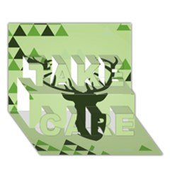 Modern Geometric Black And Green Christmas Deer Take Care 3d Greeting Card (7x5)