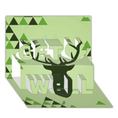 Modern Geometric Black And Green Christmas Deer Get Well 3D Greeting Card (7x5)