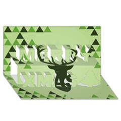 Modern Geometric Black And Green Christmas Deer Merry Xmas 3D Greeting Card (8x4)