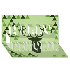 Modern Geometric Black And Green Christmas Deer Happy New Year 3D Greeting Card (8x4)