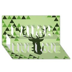 Modern Geometric Black And Green Christmas Deer Laugh Live Love 3D Greeting Card (8x4)