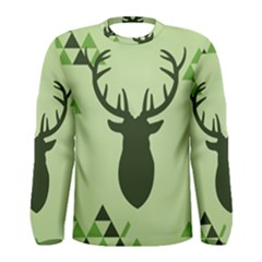 Modern Geometric Black And Green Christmas Deer Men s Long Sleeve T-shirts