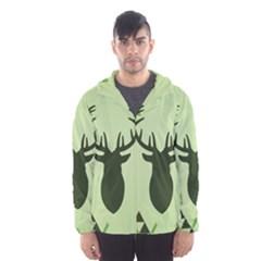 Modern Geometric Black And Green Christmas Deer Hooded Wind Breaker (Men)