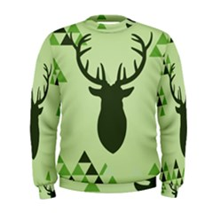 Modern Geometric Black And Green Christmas Deer Men s Sweatshirts