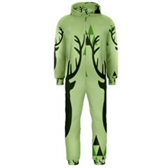 Modern Geometric Black And Green Christmas Deer Hooded Jumpsuit (men)