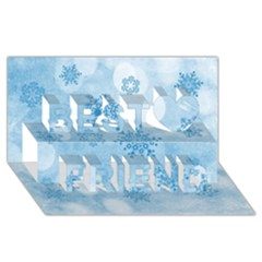 Winter Bokeh Blue Best Friends 3D Greeting Card (8x4)