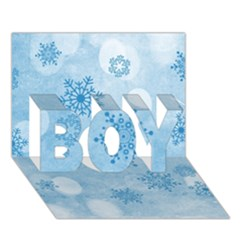 Winter Bokeh Blue Boy 3d Greeting Card (7x5)