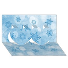 Winter Bokeh Blue Twin Hearts 3D Greeting Card (8x4)