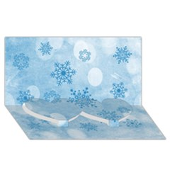 Winter Bokeh Blue Twin Heart Bottom 3D Greeting Card (8x4)