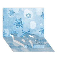 Winter Bokeh Blue LOVE Bottom 3D Greeting Card (7x5)
