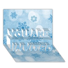 Winter Bokeh Blue YOU ARE INVITED 3D Greeting Card (7x5)
