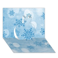 Winter Bokeh Blue Apple 3D Greeting Card (7x5)