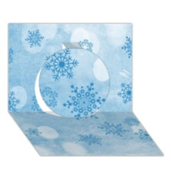 Winter Bokeh Blue Circle 3D Greeting Card (7x5)