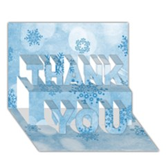 Winter Bokeh Blue THANK YOU 3D Greeting Card (7x5)