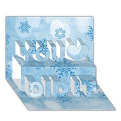 Winter Bokeh Blue You Did It 3D Greeting Card (7x5)