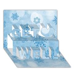 Winter Bokeh Blue Get Well 3D Greeting Card (7x5)