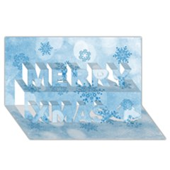 Winter Bokeh Blue Merry Xmas 3D Greeting Card (8x4)