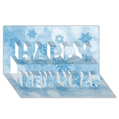 Winter Bokeh Blue Happy New Year 3d Greeting Card (8x4)