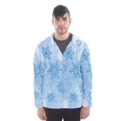 Winter Bokeh Blue Hooded Wind Breaker (Men)