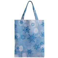 Winter Bokeh Blue Zipper Classic Tote Bags
