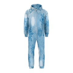 Winter Bokeh Blue Hooded Jumpsuit (kids)