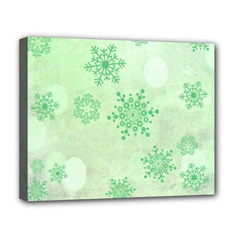 Winter Bokeh Green Deluxe Canvas 20  x 16