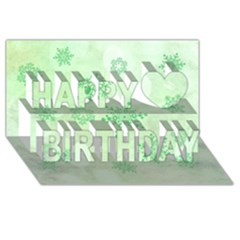 Winter Bokeh Green Happy Birthday 3d Greeting Card (8x4)
