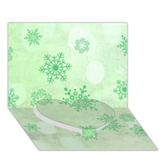 Winter Bokeh Green Heart Bottom 3d Greeting Card (7x5)