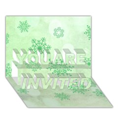 Winter Bokeh Green YOU ARE INVITED 3D Greeting Card (7x5)