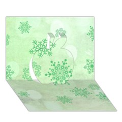 Winter Bokeh Green Apple 3D Greeting Card (7x5)