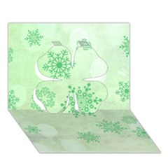Winter Bokeh Green Clover 3D Greeting Card (7x5)