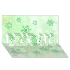Winter Bokeh Green BEST SIS 3D Greeting Card (8x4)