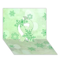 Winter Bokeh Green Ribbon 3D Greeting Card (7x5)
