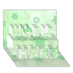 Winter Bokeh Green Work Hard 3d Greeting Card (7x5)