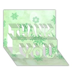 Winter Bokeh Green THANK YOU 3D Greeting Card (7x5)