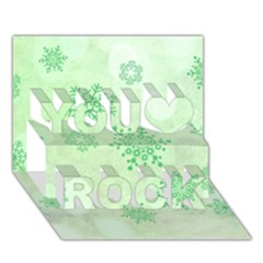 Winter Bokeh Green You Rock 3D Greeting Card (7x5)