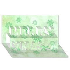 Winter Bokeh Green Merry Xmas 3D Greeting Card (8x4)