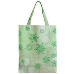 Winter Bokeh Green Zipper Classic Tote Bags
