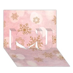 Winter Bokeh Pink I Love You 3D Greeting Card (7x5)