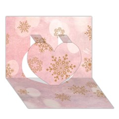 Winter Bokeh Pink Heart 3D Greeting Card (7x5)