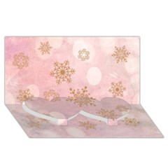 Winter Bokeh Pink Twin Heart Bottom 3D Greeting Card (8x4)