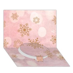 Winter Bokeh Pink Circle Bottom 3d Greeting Card (7x5)