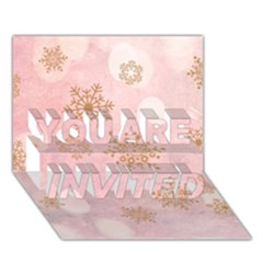 Winter Bokeh Pink YOU ARE INVITED 3D Greeting Card (7x5)