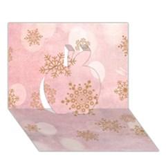 Winter Bokeh Pink Apple 3d Greeting Card (7x5)