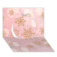 Winter Bokeh Pink Circle 3d Greeting Card (7x5)