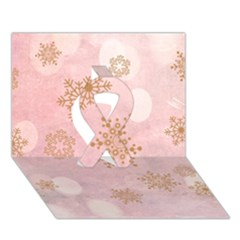 Winter Bokeh Pink Ribbon 3D Greeting Card (7x5)