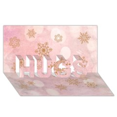 Winter Bokeh Pink HUGS 3D Greeting Card (8x4)
