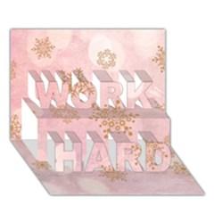 Winter Bokeh Pink WORK HARD 3D Greeting Card (7x5)
