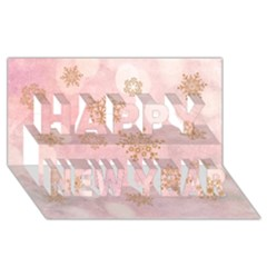 Winter Bokeh Pink Happy New Year 3d Greeting Card (8x4)