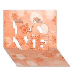 Winter Bokeh Red LOVE 3D Greeting Card (7x5)